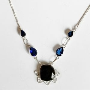 Black blue necklace statement evening silver new